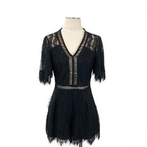 Lovers + Friends- Black Lace Romper Size Medium